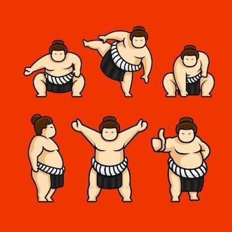 Set di simpatico personaggio di sumo in giappone