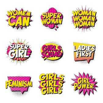 Set di slogan in stile vintage pop art in fumetto comico su sfondo bianco. retrò