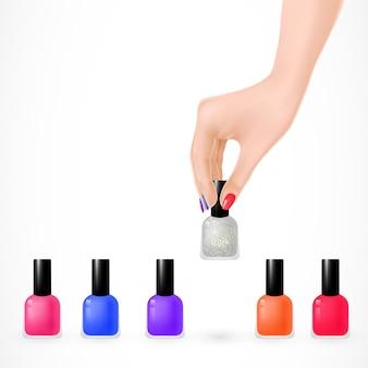 Set di smalti per unghie e mano di donna