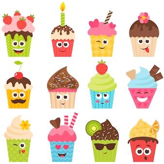 Set di smiley cupcake su bianco