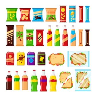Set di snack per distributori automatici. spuntini degli alimenti a rapida preparazione, bevande, noci, patatine fritte, cracker, succo di frutta, panino per la barra della macchina del venditore isolata su fondo bianco. illustrazione piatta in