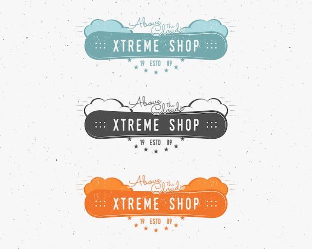 Set di snowboard negozio estremo logo, modelli di etichette distintivo del negozio di sport snowboard invernale.