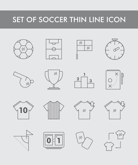 Set di soccer thin line icon