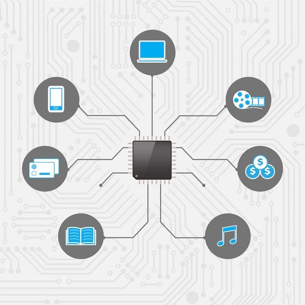 Set di social media con tecnologia di processore di chip