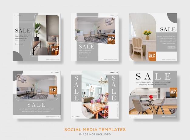 Set di social media interni post banner modello premium