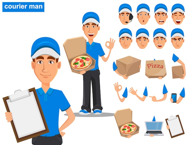 Set di sorridente uomo di consegna