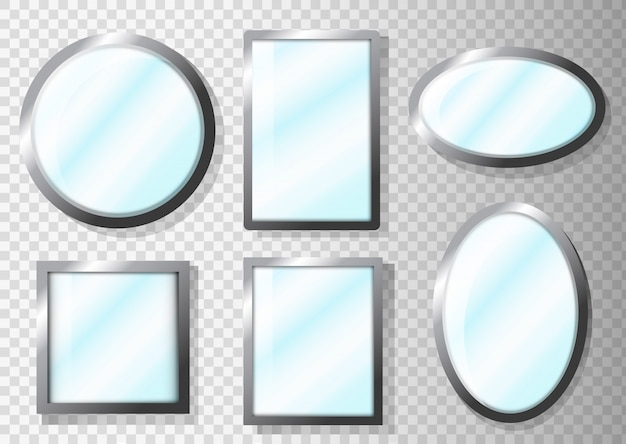 Set di specchi realistici mockup di specchi di trucco dorato.
