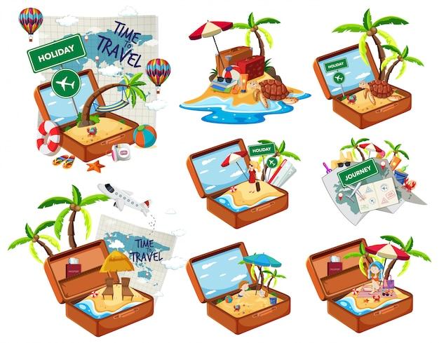 Set di spiaggia nel bagaglio di viaggio