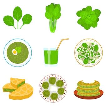 Set di spinaci, stile piatto