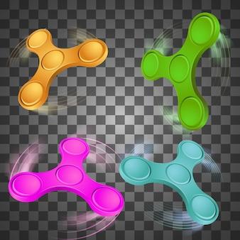 Set di spinner fidget colorato.