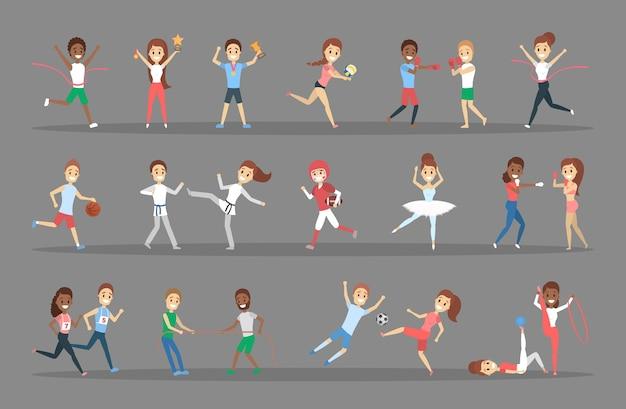 Set di sportivi. persone che praticano diversi tipi di sport: giocare a basket, fare ginnastica, correre e vincere la competizione. illustrazione vettoriale piatto