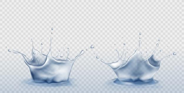 Set di spruzzi d'acqua a forma di corona con goccioline