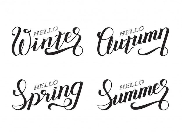 Set di stagioni testo scritto a mano: ciao, inverno.