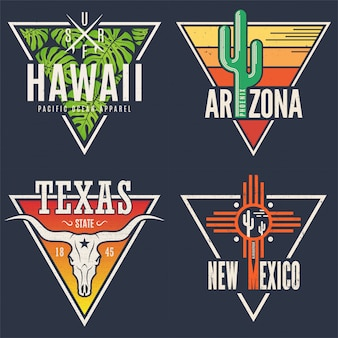 Set di stampe tee hawaii arizona texas new mexico.