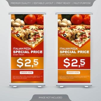 Set di stand di cibo ristorante roll up banner design