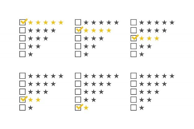 Set di stelle di valutazione.