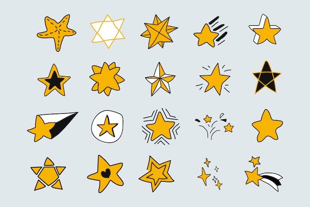 Set di stelle doodle