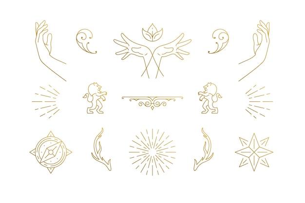Set di stelle e gesto mani in mano disegnati