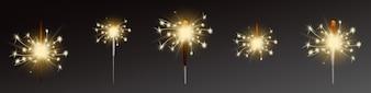 Set di stelle filanti, bagliori realistici con le fiamme