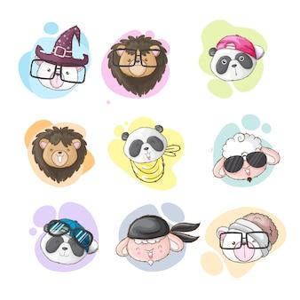 Set di stile disegnato a mano del fumetto animale sveglio