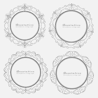 Set di stile vintage cornici rotonde decorativi.
