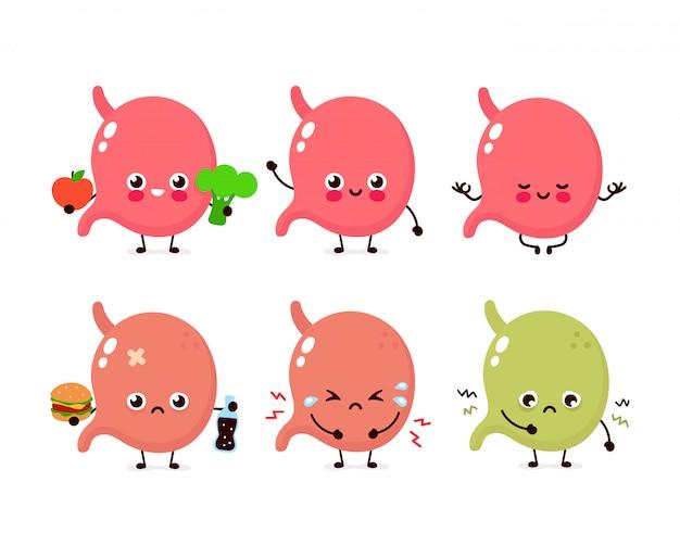 Set di stomaco carino. organo umano sano e malsano
