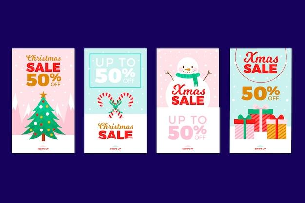 Set di storia di instagram di vendita di natale