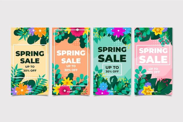 Set di storia di instagram di vendita di primavera