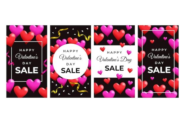 Set di storia di vendita di san valentino
