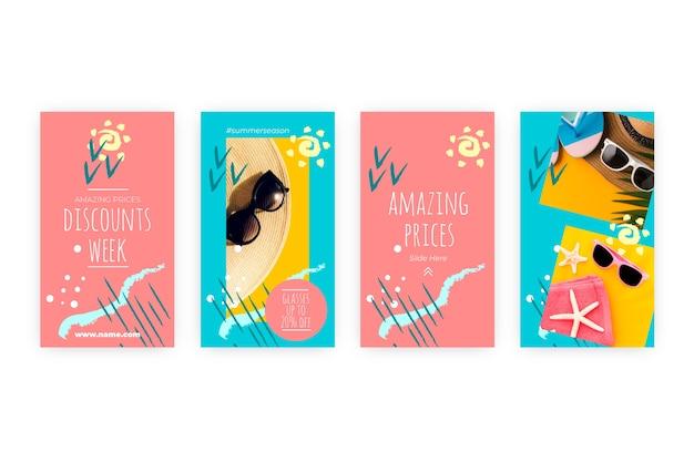 Set di storie colorate astratte di vendita di instagram