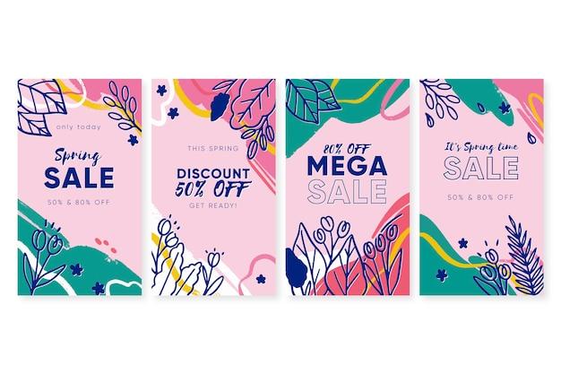 Set di storie colorate di instagram di vendita di primavera