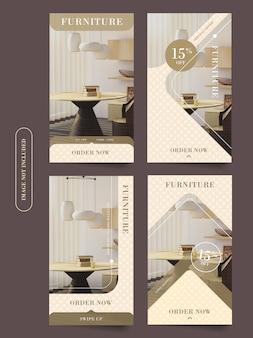Set di storie di instagram di mobili per la casa