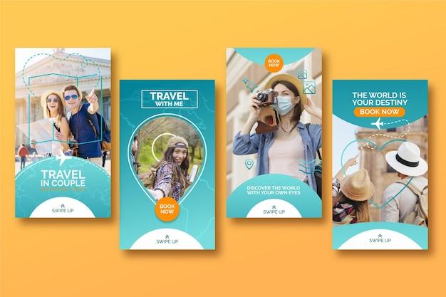 Set di storie di instagram di vendita di viaggio