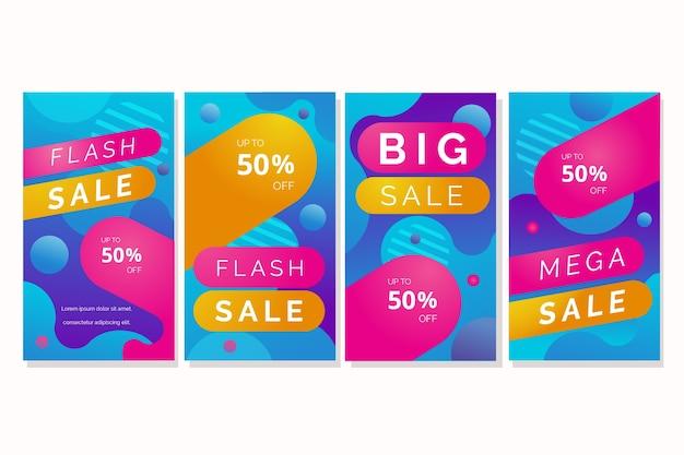 Set di storie di instagram di vendita
