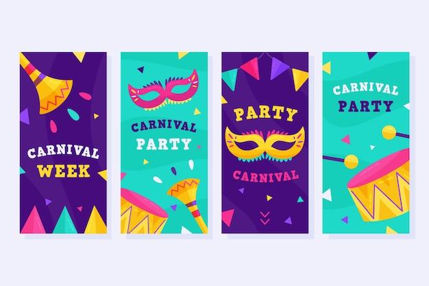 Set di storie di instagram per la festa di carnevale