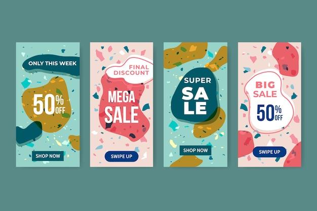 Set di storie di vendita di instagram in stile terrazzo e disegnati a mano