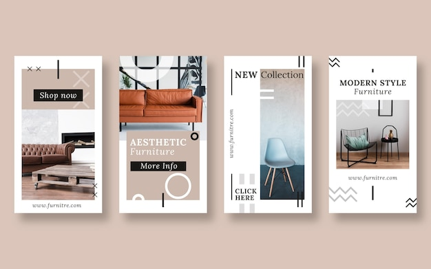 Set di storie di vendita di mobili