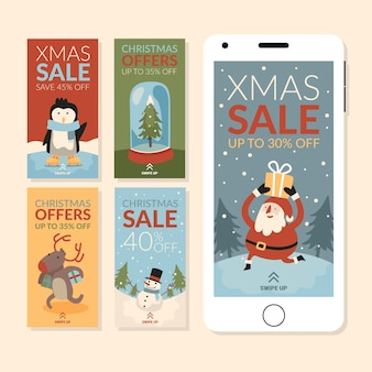 Set di storie di vendita di natale di instagram
