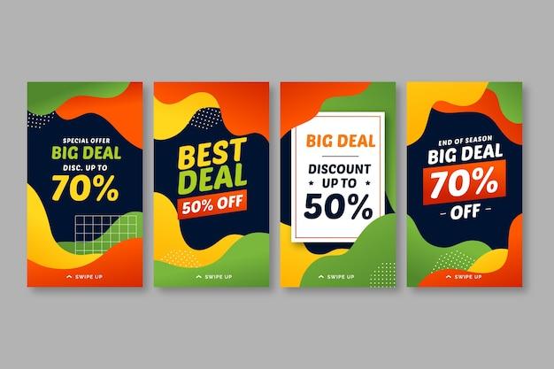 Set di storie di vendita su instagram colorate fluide