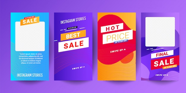 Set di storie grafiche moderne astratte creativi. modello impostato con banner sfumatura moderna liquido