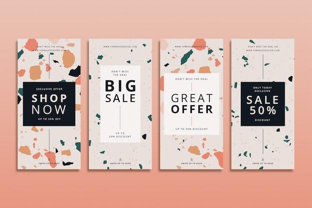 Set di storie instagram di vendita in stile terrazzo