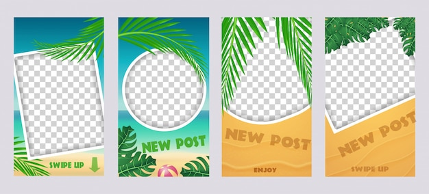 Set di storie mediatiche socila. modello per post di viaggio vacanze estive.