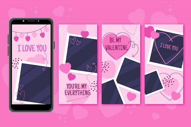 Set di storie per san valentino