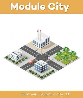 Set di strada isometrica grattacieli