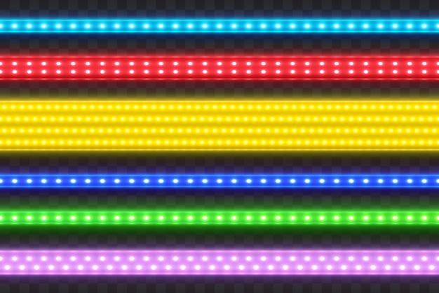 Set di strisce colorate a led realistiche senza cuciture.