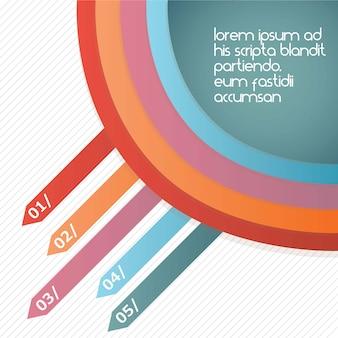 Set di strisce colorate con cerchio su sfondo bianco