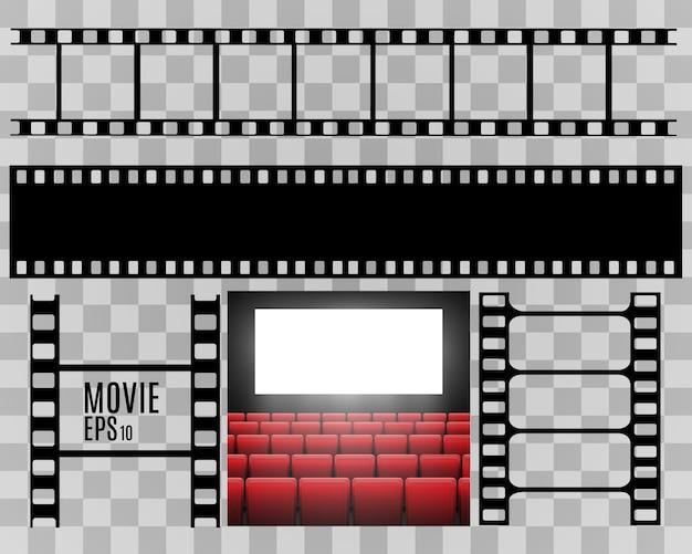 Set di strisce di pellicola isolato su sfondo trasparente. rotolo di striscia di pellicola. sfondo cinema vettoriale.