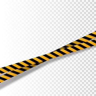 Set di strisce nere e gialle. nastri d'avvertimento. segni di pericolo. attenzione, nastro barricade,