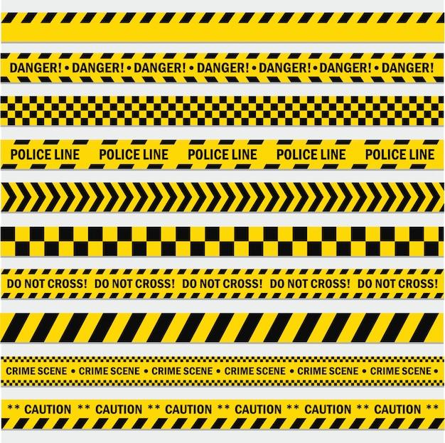 Set di strisce nere e gialle