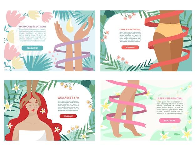 Set di striscioni colorati salone di bellezza con mani, fianchi, gambe, viso.